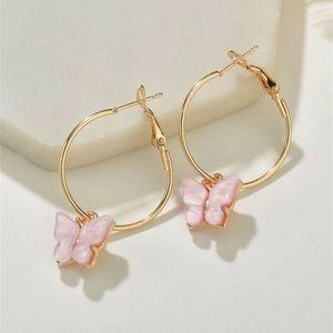Jewelry - ⭐3/$30 |Blush Butterfly Pendant Gold Hoop Earrings